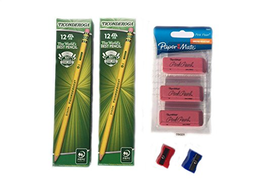 Ticonderoga Pre-Sharpened Wood-cased 2HB Pencils, Paper Mate Pearl Erasers 3-pack, (Dixon Ticonderoga Plastic Paper)