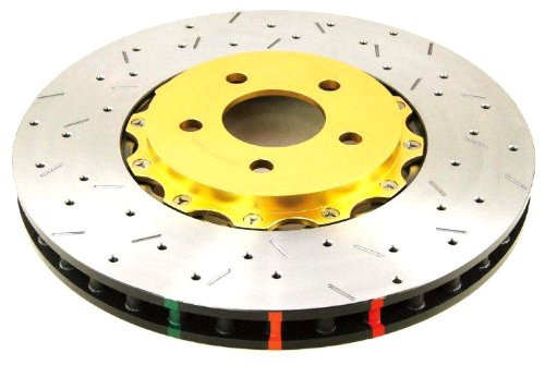 DBA DBA5575GLDXS 5000 Series XS Gold Hat Fully Assembled Disc Brake Rotor (Premium Cross-Drilled and Slotted) (Front, Vented) - Piece of 2