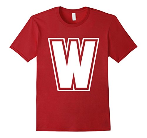 [Men's Letter W T-Shirt - More Colors & Letters Available Large Cranberry] (Letter W Halloween Costumes)