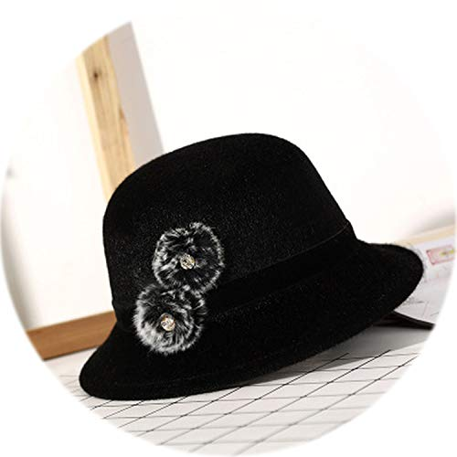 Felted Wool Hat Patterns - 2019 Fashion Sweet Vintage Felted Imitation Wool Hat Floppy Spring Winter Hat for Women Chapeu Woman Cute Sunhat,Black