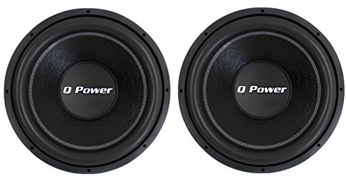 "QPower QPF15 15"" 4400 Watt Deluxe Series DVC Car Audio Subwoofers Subs (2 Pack)"