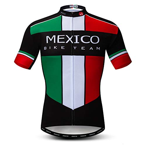 247d1a019 Weimomonkey Men s Cycling Jerseys Tops Biking Shirts Short Sleeve Full  Zipper Bike Clothing Mexico Multi XXL