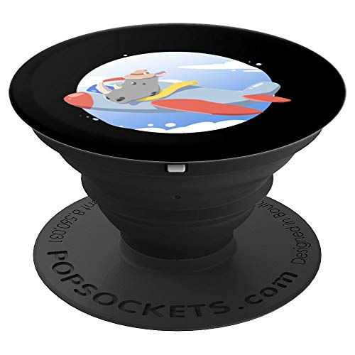 Flying Rhino - Rhino Flying Plane Safari Wild Animal Zoo Shirt Cute Gift - PopSockets Grip and Stand for Phones and Tablets