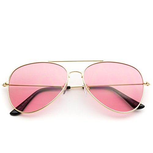 Classic Aviator Style Metal Frame Sunglasses Colored Lens (Pink Lens, - Sunglass Pink