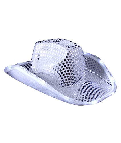 Fun Central O745, 1 Pc Silver LED Sequin Cowboy Hat, Cowboy Hats for Men and Women, Cowboy Hat for Women, Western Cowboy Hat for Girls
