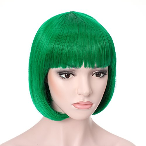 "[OneDor® 10"" Short Straight Flapper Bob Heat Friendly Cosplay Party Costume Hair Wig] (Short Green Wig)"