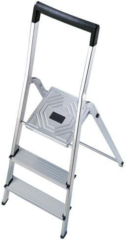 Hailo 8943-001 Escalera de aluminio con 3 peldaños y travesaño superior de seguridad con gancho para cubo: Amazon.es: Bricolaje y herramientas