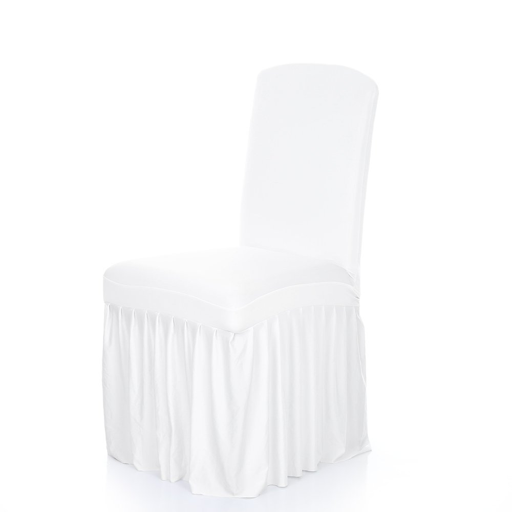 Anself Ruffled Stretchable Washable Dining Chair Cover Spandex Seats Slipcover Wedding Party/Hotel (White-1)