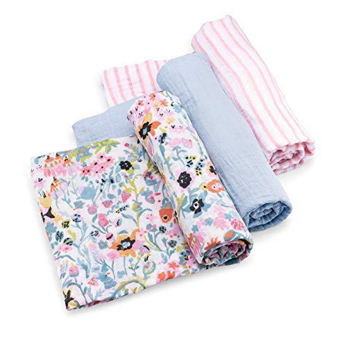 - Parker Baby Swaddle Blankets - 3 Pack of 100% Cotton Muslin Swaddle Blankets for Baby Girls -