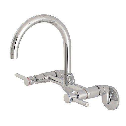 "Kingston Brass KS814C Concord 8"" Adjustable Center Wall Mount Kitchen Faucet, 7-1/16"" in Spout Reach, Polished Chrome"