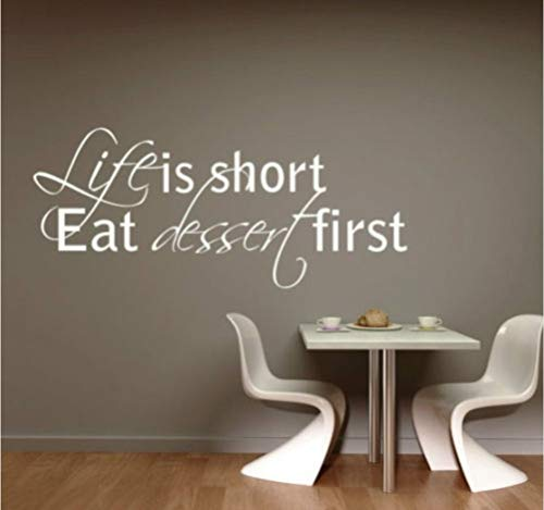 ponana Life is Short-Lived Dessert First Kitchen Fun Family Wall Quote Vinyl Art Deco Sticker Sticker Mould 30X70Cm -