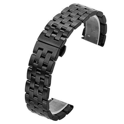 Top Plaza 22MM Black Solid Stainless Steel Straight End Link Bracelet Wrist Watch Band Strap Replacement Double Push Spring Butterfly Deployment Clasp 5 Rows Metal Strap