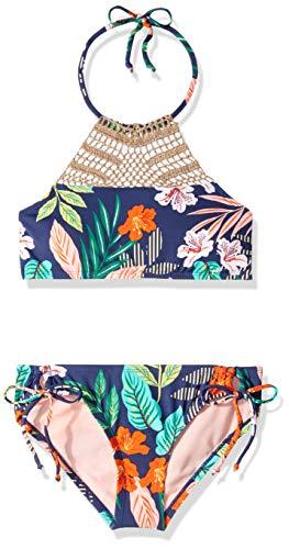 - Hobie Big Girls' High Neck Halter Top and Side Tie Bikini Bottom Set, Navy//Hibiscus Jungle, 10