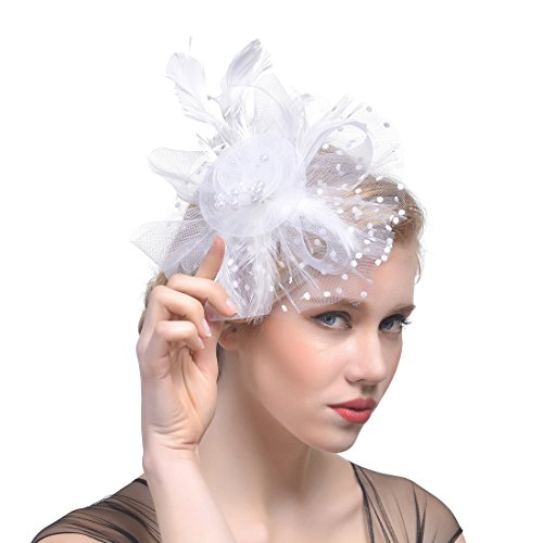 [FeiYu Crafts Rooster Tails Feather Fascinator Top Hat for Girls and Women (White)] (White Top Hat Fascinator)