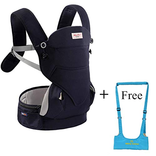Ergonomic 4-in-1 Soft Baby Carrier,3D Breathable Air Mesh Newborn Infants Carrier Backpacks with Adjustable Straps-Dark Blue-Free Toddlers Walking Helper