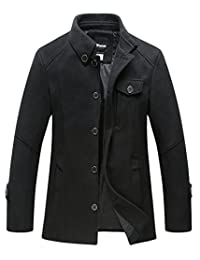 Wantdo Men's Stand Collar Pea Coat Single Breasted Outwear Peacoat Jacket