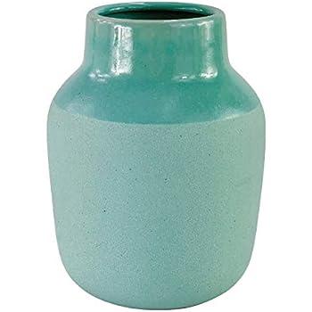 Symmetric Matrix Ceramic Vase for Home Decor - Teal Flower Vases for Shelf, Mantle or Table - Elegant Living Room Decorations for Tables - Decorative Home Accents and Unique Centerpieces