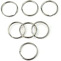 Bullidea 50 Pcs Key Ring and Chain Holder Keychain Key Holder Ideal for Handicrafts (Silver Diameter 25mm)