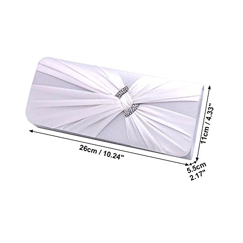 Women pink Elegant Wiwsi Prom Purse Satin Pleats Handbag Party Bag Diamante hot Clutch Bridal 5AqU6nx