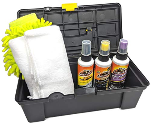 Car Care Kit 6 Pc. Extreme Tire Shine Multi Purpose Cleaner Protectant Microfiber Wash Mitt Super Soft 16″x 24″ Microfiber Cloth Carrying Case
