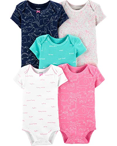 Carter's Baby Girls' 5 Pack Bodysuits (Turquoise/Pink/Navy/Animal, 18 - Carters Animal
