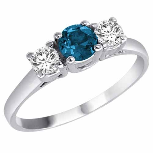 14K White Gold Round 3 Stone Blue Diamond and White Diamond Ring (1.50 cttw) – Size 7