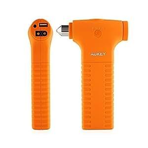 AUKEY Cargador de Emergencia Portátil 12000mAh con Martillo de Seguridad para Coche, con Pico de Corriente de 400A, con una Linterna, para todos los Dispositivos de 5V (Naranja)