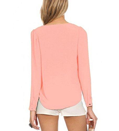 4ido Womens Long Sleeve V Neck Zipper Sexy Chiffon Pullover Blouse T-shirt Pink M
