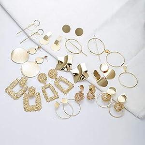 Gold Stud Dangle Earrings