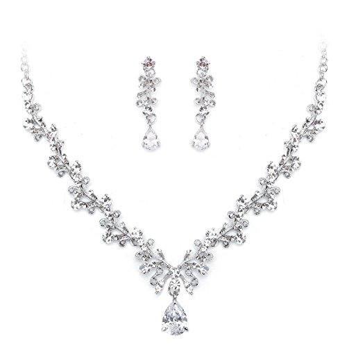 (Ezerbery Women's Wedding Bridal Austrian Crystal Teardrop Cluster Statement Necklace Dangle Earrings Jewelry Set For Wedding, Prom, Bridesmaids or Mother of Bride)