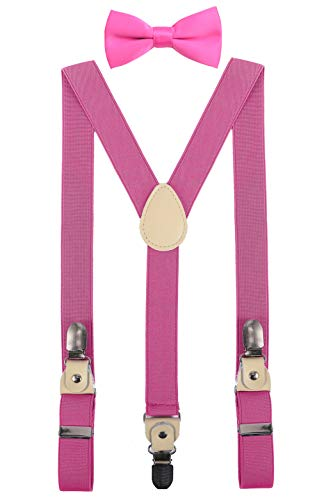 24' Pink Bow (YJDS Baby Leather Suspenders and Bowtie Set Strong Clips Hot Pink 24'')