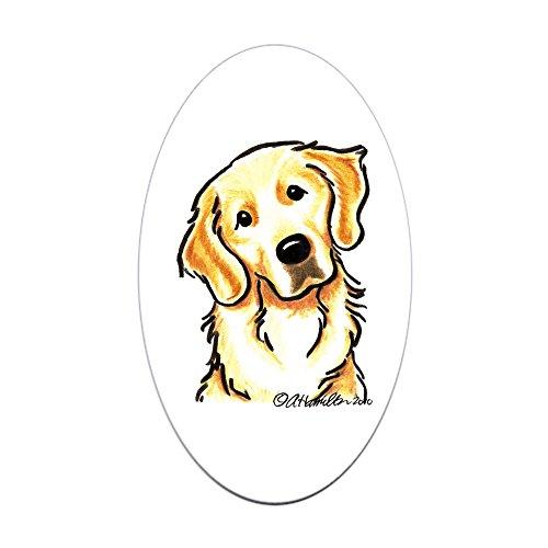 etriever Portrait - Oval Bumper Sticker, Euro Oval Car Decal (Portrait Pets Mug)