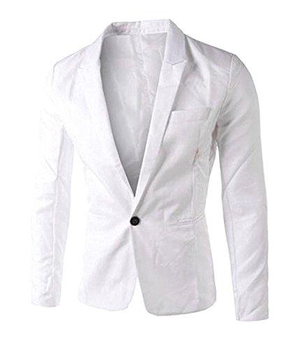 LeNG Men's Fashion Dress Slim Fit One Button Blazer Jacket WhiteUS-M