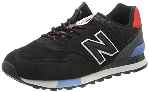 New Balance Men's 574 V2 Sneaker, Black/Velocity Red, 10 M US