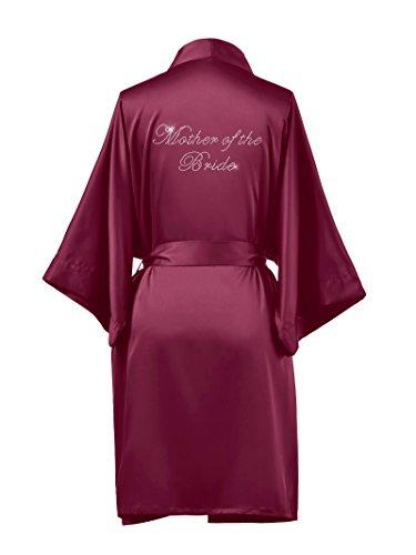 AWEI Satin Mother of The Bride Robe Plus Size Short Bridal Robes for Mother of The Bride Gifts Soft Womens Kimono Robe Burgundy (Bridal Mother Of The Bride)
