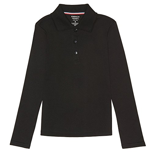 (French Toast Big Girls' Long Sleeve Interlock Polo with Picot Collar, Black, X-Large/14/16)