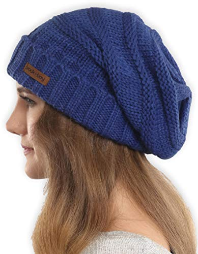 Brook + Bay Slouchy Cable Knit Cuff Beanie - Stay Warm & Stylish - Chunky, Oversized Slouch Beanie Hats for Women & Men - Serious Beanies for Serious - Cover Timing Infinity