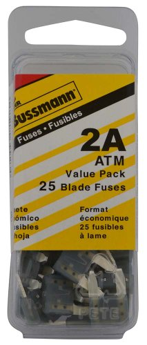 Bussmann (VP/ATM-2-RP) Yellow 2 Amp Fast Acting ATM Mini Fuse, (Pack of 25) - Bussmann 2 Amp