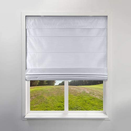 Arlo Blinds Privacy Fabric Roman Shades, Color Faux Silk Grey, 35 W X 60 H, Cordless Lift Window Blinds