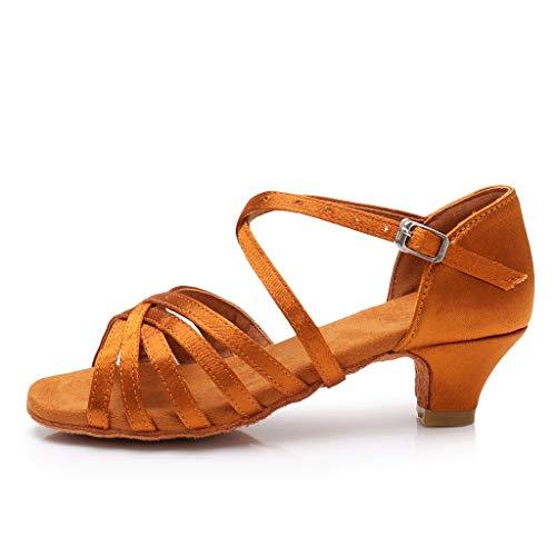 SUNyongsh Toddler's Heels Baby Kids Sandals Girls Princess Dancing Shoes Ballroom Tango Latin Shoes Casual Slippers Mules Brown ()