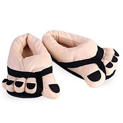HUAJI Funny Winter Soft Plush Toe Big Feet Slippers Adult Shoes(Black)