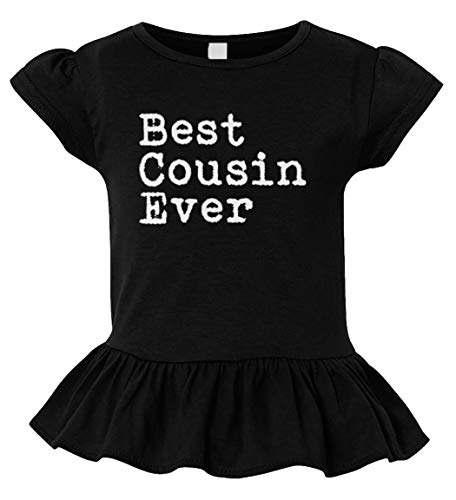 Best Cousin Ever - Birthday Gift Present Toddler/Youth Ruffle Jersey Tee (Black, 4T (Toddler))