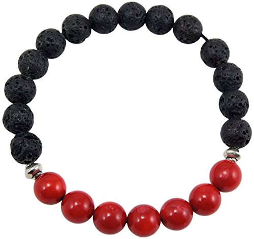 Volcanic natural lava yoga meditation healing wrist mala bracelet CL-13 (Lava and 7 Red Coral) ()