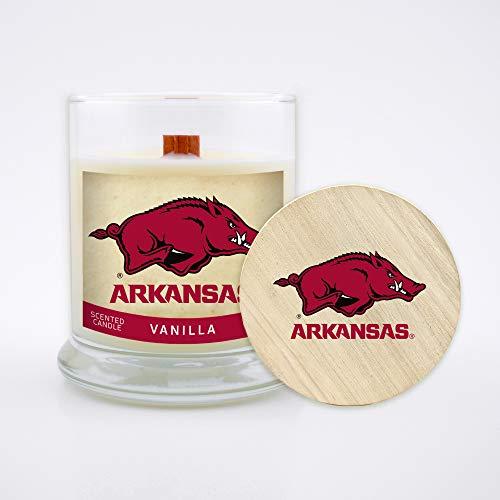 Worthy Promo NCAA Arkansas Razorbacks 8 oz Vanilla Scented Soy Wax Candle, Wood Wick and Lid