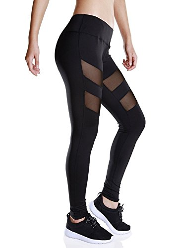 Fengtre Women's Black Mesh High Waist Breathable Elastic Active Workout Yoga Pant Leggings Capri Petit Am I Christmas
