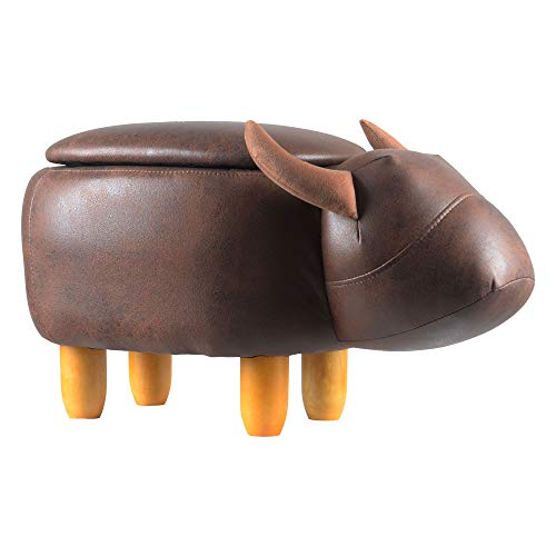 H B Luxuries Animal Shape Ottoman Foot Rest Stool with Upholstered Ride-on Storage Footstools,Brown Buffalo ST-BRCOW1