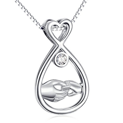 Sterling Silver Open Teardrop Mother and Child Hand Mother's Love Pendant Necklace