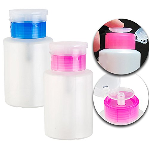 Nail Art and Make Up Set Kit of 2pcs Liquids Cosmetics Bottles Dispensers With Pump for Creams, Tonics, Soaps, Shampoos, Lotions and Polish Varnish Removers