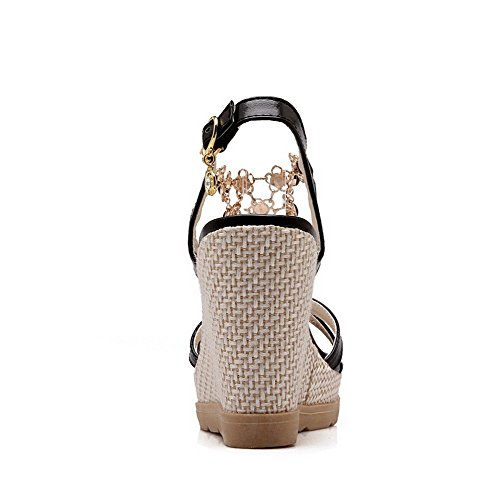AllhqFashion Women's Open Toe High Heels Buckle Solid Sandals Black PUiCSnME