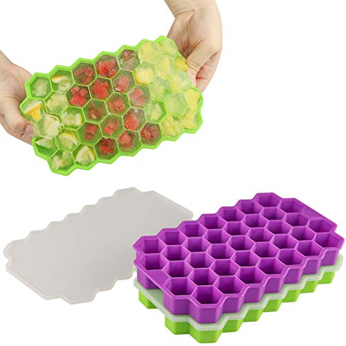 GZDUCK Ice Cube Trays with Lids,2 Pack 74 Ice Cubes Silica Gel Flexible and BPA Free with Removable Lid Ice Cube Trays for Chilled Drinks, Whiskey & Cocktails